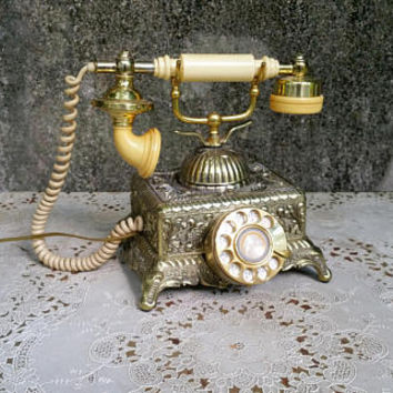 Vintage Gold Baroque Monarch Square French Phone  Working Rotary Phone