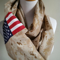 Marine Desert Camo Infinity Scarf, American Flag Military Scarf