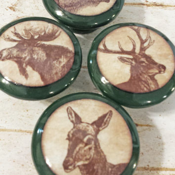 "Set of 4 Handmade 1.5"" Wildlife Animal Knobs, Drawer Pulls, Woodland Cabinet Pull Handles, Wild Animal Dresser Knobs, Campground Green"