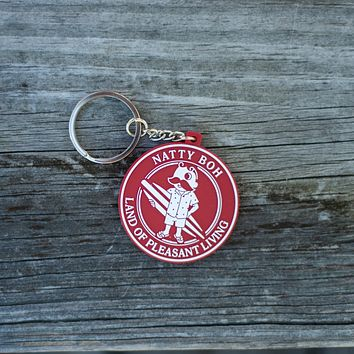 Natty Boh Land of Pleasant Living Surf (Red) / Key Chain