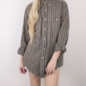 Vintage Brown Navy Striped Button Up Shirt