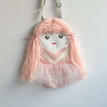 Embroidered tu tu skirt, bag doll charming ballerina in tulle, Handbag doll for girls.