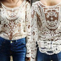 Beige Embroidered  Lace Sheer Top