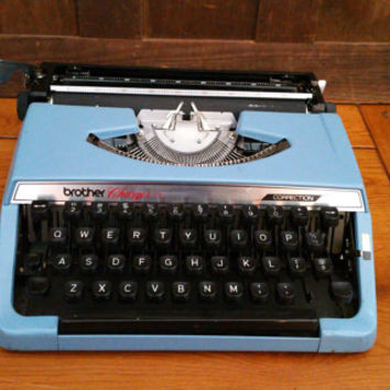 Vintage Working Light Blue Brother Charger 11 Correction Typewriter Portable Compact Travel Typewriter With Case