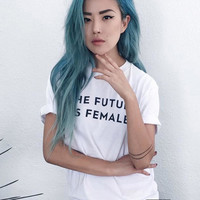The Future is Female, Feminist T Shirts .Cotton Tees for Women - Womens March 2017