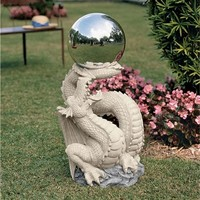 SheilaShrubs.com: Sir Sagremor's Dragon Statue with Gazing Orb NG30854 by Design Toscano: Garden Sculptures & Statues