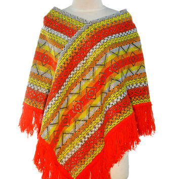 Poncho Cape // Hippie Clothes // Peruvian Sweater // BOHO Shawl // BURNING MAN // Festival Clothing // Bohemian Jacket // Bright Orange