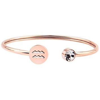 AUGUAU Zuo Bao Simple Rose Gold Zodiac Sign Cuff Bracelet with Birthstone Birthday Gift for Women Girls