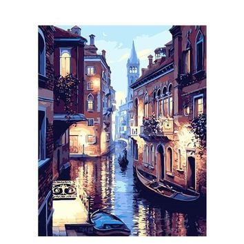 Painting By Numbers: Frameless Venice Night Landscape Wall Art