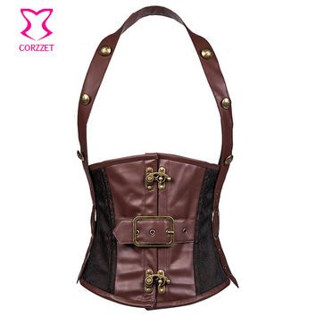 Brown Faux Leather and Brocade Steel Boned Steampunk Corset with Halter Strap Waist Training Corsets Slimming Belt For Men Belly