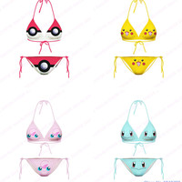 Cute Pikachu Smiley Face Beachwear Two-Pieces Neck Most Popular Sexy 3D Print Cartoon Pokemon Bikini Set Girls Swimsuit