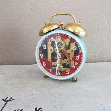 Sheffield Alarm Clock Vintage Alarm Clock Turquise Clock Desk Clock Wind Up Clock West Germany Clock Vintage Clock Round See Through Clock