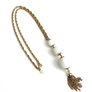 Sarah Coventry Tassel Necklace, Vintage, Mod 1960s, Mid Century, White Bead, Drop Pendant, Gold Tone, Filigree Caps, Chain Tassel