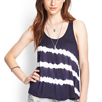 FOREVER 21 Split Back Tie-Dye Tank Navy/Cream
