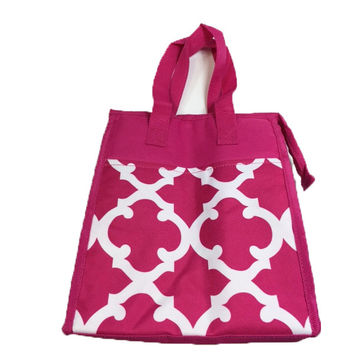 Quatrefoil Lunch Bag - Pink and White