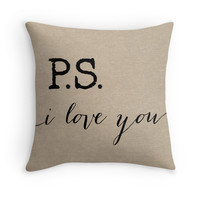 PS I love you quote on a Faux Burlap Pillow Cover