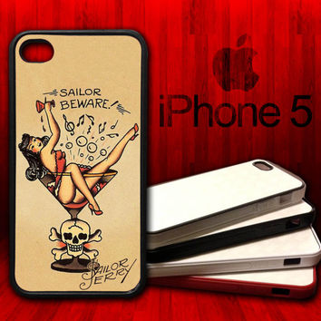 Sailor Jerry Martini Traditional Tattoo Girl -  iPhone 5 Rubber Protective Case