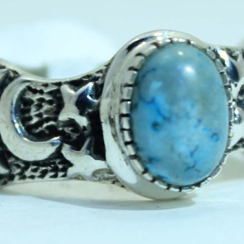 Sterling Silver Turquoise Moon and Star Ring