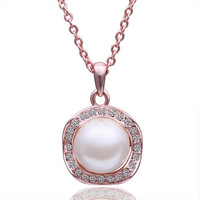 Rose Gold Plated Large Pearl Center Necklace