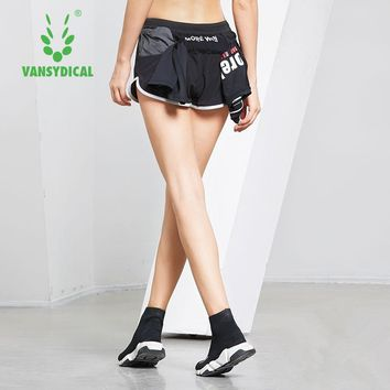 Vansydical Back Pocket Sports Yoga Shorts Women's Breathable Quick Dry Fitness Running Shorts Workout Jogging Gym Shorts