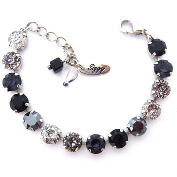 Swarovski Crystal Bracelet and/or Necklace, 8mm, Silver, jet black, charcoal, Chic and Stylish, Designer tennis Bracelet, Siggy Jewelry