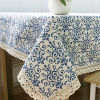 Retro Blue and White Table Cloth with Lace Cotton Print Chinese Style  Rectangular Dinning Tablecloths Cover Home Decor