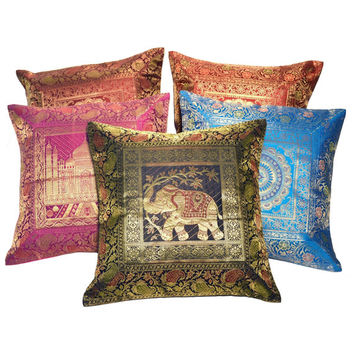 Fancy Multicolor Brocade Work Cushion Cover Set, Elegant Embroidered Throw Pillows, Mandala/ Taj Mahal Decorative Pillows