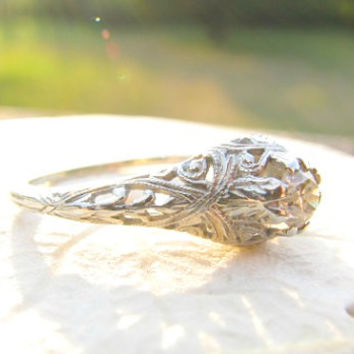 Art Deco Diamond Engagement Ring, Fiery European Cut Diamond, Beautiful Filigree, Intricate Leafy Details, Circa 1920