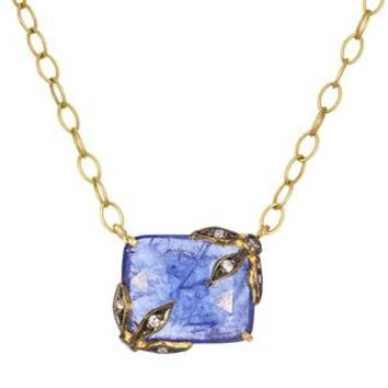 Tanzanite Branch and Flower Pendant Necklace