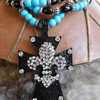 Chunky western black and rhinestone fleur di lis cross with black glass and turquoise magnesite necklace and earring set