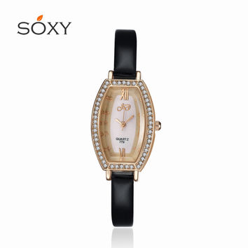 Hot red belt quartz watch Ms. watches waterproof genuine leather fashion boutique Rhinestones watches female form