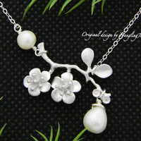 Bridesmaid Gifts, Set of 8, Cherry blossom Necklace, Bridesmaid Jewelry, Bridesmaid Gift Idea, Wedding Jewelry, White Pearl Necklace