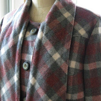 50s 60s Plaid Swing Coat with Scarf by BijouVintageBazaar on Etsy