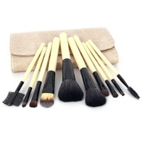 Professional 10 Pcs Makeup Make up Cosmetic Brushes Set Kit Eyeshadow Eyebrow Eyelash Lip Powder Blush Face Brush with Bag Case Pouch