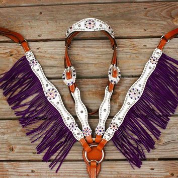 White Gator/Tan Leather / Purple Fringe Browband Tack Set w/AB-Purple Crystal Rhinestone Conchos