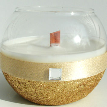 Rounded Favor/ Centerpiece Shimmering Gold Candle