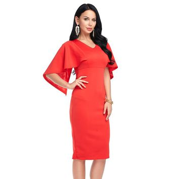 Women Party Red Dress Summer bodycon Fashion V-neck Vintage Flare Sleeve Dresses Ladies Vestidos Solid Black White Red Plus Size
