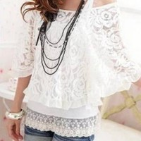 SEXY 2PIECE LACE SUMMER STYLE BLOUSE.