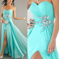 2013 New Crystals Prom Pageant  Gown Ball Evening Party Formal Dresses