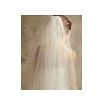 Plain Two-Tier Finger Tip Length Veil With Raw Edge | Wedding Veil | Bridal Veil | Fingertip Veil | White Wedding Veil | Ivory Veil | VG1008