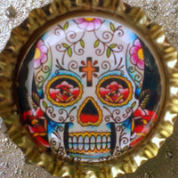 Floral pattern Day of the Dead Sugar Skull  bottle cap by CslayerD