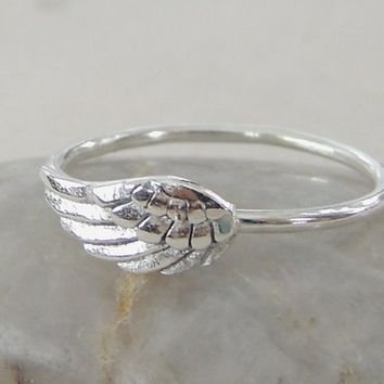 Silver Angel Wing Ring, Angel Jewelry, Sterling Silver Ring, Charm Silver Ring, Bird Wing Silver Ring, Boho Ring, Jewelry, Bird Ring
