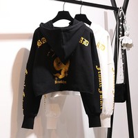 Women Personality Cool Dragon Letter Pattern Print Loose Long Sleeve Pullover Hooded Sweater Crop Tops