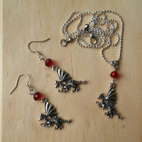 Antique Silver Dragon Set.