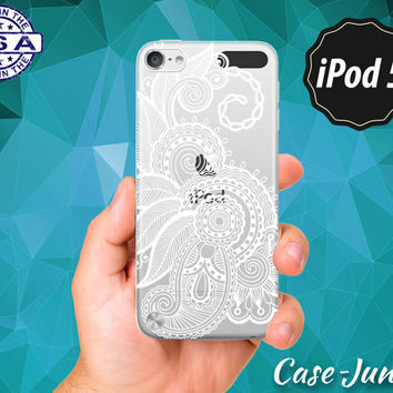 White Henna Floral Pattern Flower Tattoo Mandala Tumblr Cute Rubber Transparent Crystal Clear Custom Case For iPod Touch 5th Generation Gen