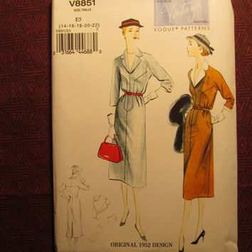 SALE Uncut Vogue Sewing Pattern, 8851! 14-16-18-20-22 Medium/Large/XL/XXL/Women's/Misses/1950's Design/Retro Fitted Dress/Front yoke/Detacha