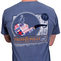 Country Club Prep: Signature Pipe Tee in Blue Jean by Fripp & Folly