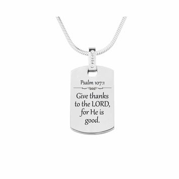 Scripture Tag Necklace with Cubic Zirconia - Psalm 107:1