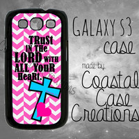 Pink Chevron Turquoise Cross Bible Verse Samsung Galaxy S3 Hard Plastic or Rubber Cell Phone Case Cover Original Design