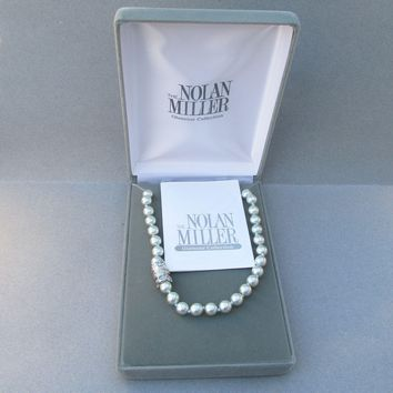 "New In Box! Vintage Signed NOLAN MILLER 36"" Long Sky Blue Simulated Pearl Necklace, Rhinestone Snap Clasp"
